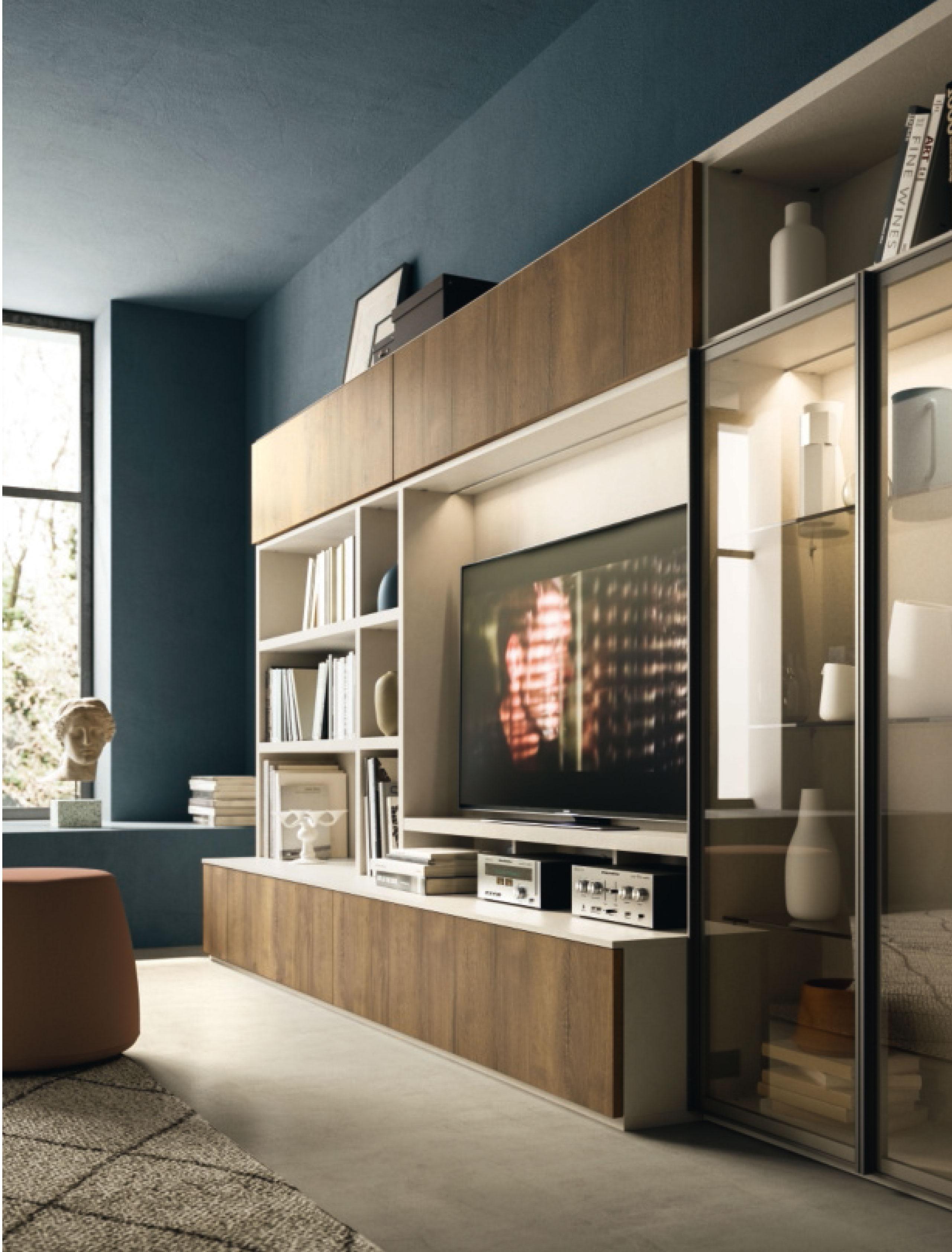 Meuble Tv Avec Bibliothèque bibliothèque avec vitrine et espace tv - en savoir plus nous
