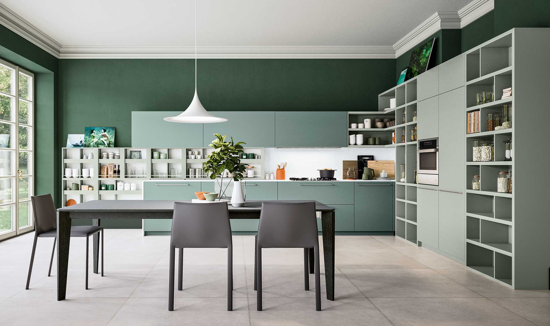 Meuble De Cuisine Laqué cuisine laquée verte - meubles aubin